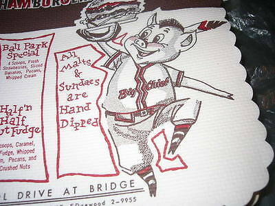 ONE PIG'N WHISTLE Restaurant vintage place mat new old stock