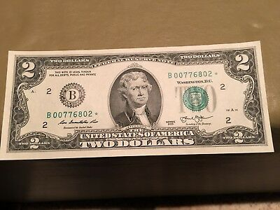 Uncirculated 2013 Two Dollar Star Note FRB New York $2 Bill: Free Shipping