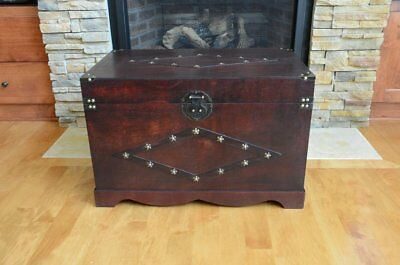 NEW Steamer Trunk Antique Style Hope Chest Wooden Metal Storage Vintage Coffee