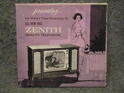1963 Zenith Television Vintage Advertising Folded Brochure Booklet Poster T2064