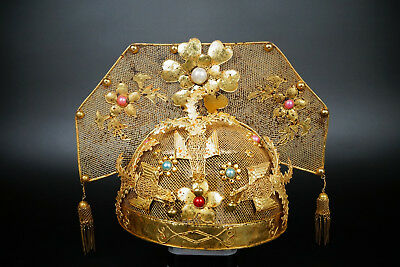 Chinese 15thC Ming PURE Solid Gold and Silver Imperial Concubine Chapeau