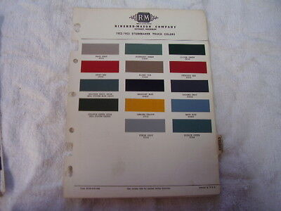 1952 1953  Studebaker Paint Color Chips