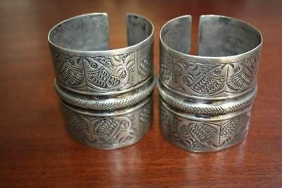 ANTIQUE ETHNIC SILVER BRACELET CUF PAIR EGYPT SIWA DAHLA OASIS fish motive