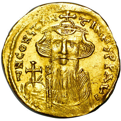 CONSTANS II. Gold solidus. 641 - 668 A.D..   Extremely Fine..  7484.