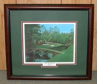 "Framed - 12th at Augusta golf print   MASTERS = 16"" x 18"" overall size Giclee"