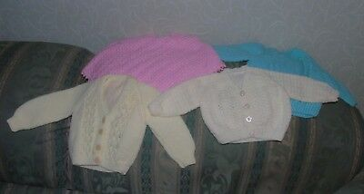 4 hand knitted baby cardigans, jumper and poncho - all unworn