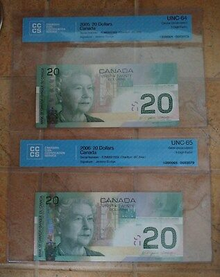 """""canada ""set Of Two"" 2005-06 ""twenty Dollars"" Digit Radar"""