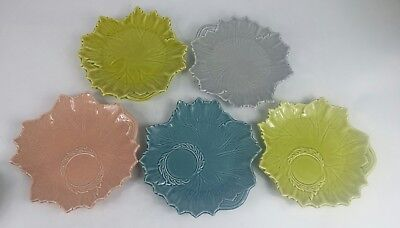 """5 VTG Steubenville Woodfield Leaf Russell Wright Plates Mixed Colors 8.75"""""""