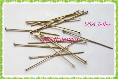 40mm 50pcs Antique Brass Bronze Headpins .7mm Jewelry Findings Earrings Necklace