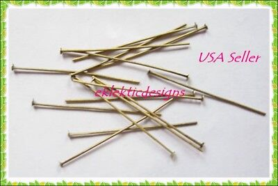 40mm 100pcs Antique Brass Bronze Headpins Jewelry Findings Earrings Necklace