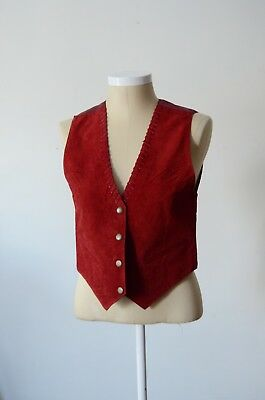 Vintage 80s red leather vest