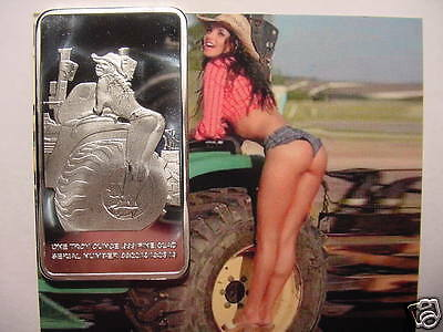 Rare FARM GIRL 1oz .999 SILVER C/P ART BAR-Vintage-Sexy Popular-w/Picture-Nice-g