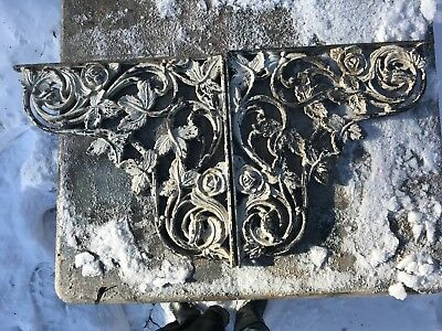 Pair Antique Solid Wrought Iron Brackets Corbels 16X16