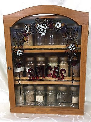 Wood 3 Tiered Shelf Spice Rack With Door & 18 VTG Glass Spice Jars RARE