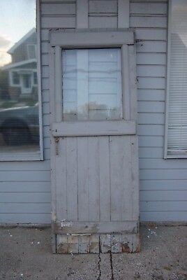 Vintage Farm Barn House Door with Window and original Hardware Salvage Wood