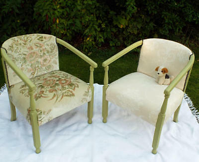 Pair of 1920s/30s solid oak painted armchairs Re-upholstered antique chairs