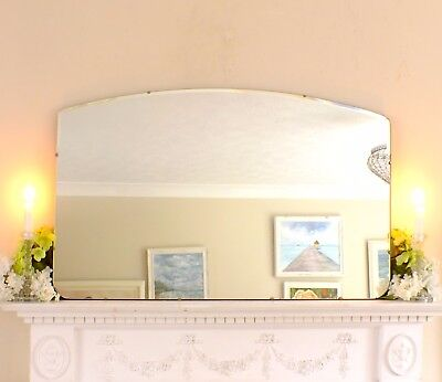 Mirror Mid Century Modern Frameless Large Feature Wall Over Mantle Mirror