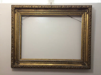 "1800s Antique 50x40"" GOLD GILT GESSO WOOD FRAME for Painting Mirror VERY LARGE"