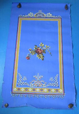 Victorian Wallpaper Large Handblocked Panel Roses in Frame on Deep Blue