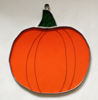 "LARGE Stained Glass Orange Pumpkin Suncatcher Fall Autumn  8"" tall x 7.25"" wide"