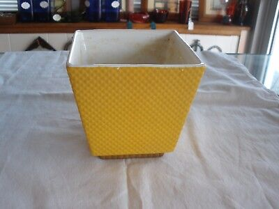 Vintage Yellow Wicker Pattern Shawnee Pottery Square Planter USA 1908