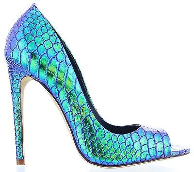 Rylee-11 Hologram Peep Open Toe Stiletto High Heel Slip On Pump Slide Shoe Multi