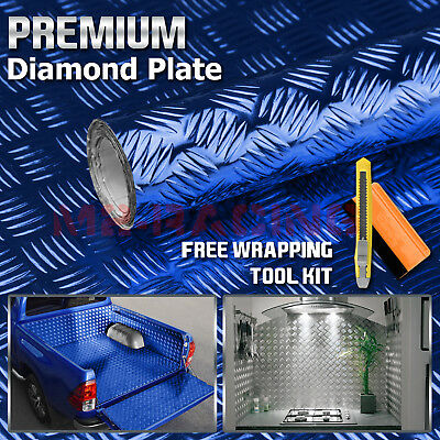 "*12""x48"" Blue Chrome Diamond Plate Vinyl Decal Sign Sheet Film Self Adhesive"