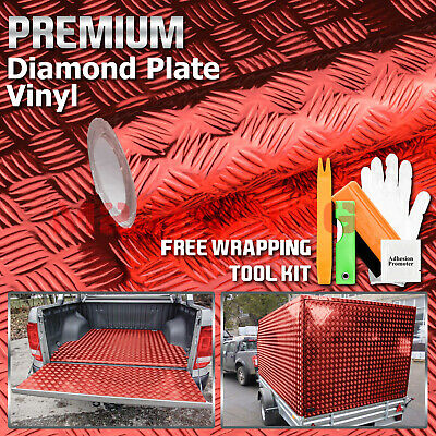 "*24""x48"" Red Chrome Diamond Plate Vinyl Decal Sign Sheet Film Self Adhesive"