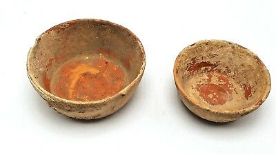 Spectacular Pair of Small Ancient Roman Terracotta Nesting Bowls With Slip Glaze