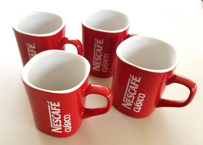 """NESCAFE Clasico COFFEE Mug Cup RED 3.5"""" Tall Nestle Collectors 4 Cups Available"""