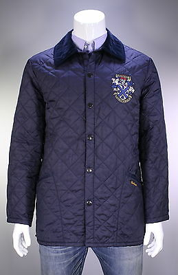 * BARBOUR * Navy Blue Diamond Quilted 'Crested Liddesdale' Barn Jacket~ Men's L