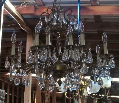 Hollywood Regency Mid Century Brass And Crystal Chandelier Made In Spain