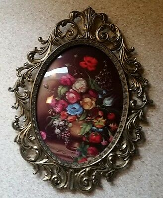 Vintage Italian Ornate Brass Frame with Domed Glass Print Flower Bouquet 13""
