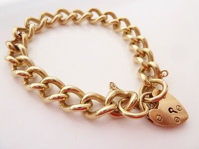 VINTAGE HEART PADLOCK BRACELET 9CT YELLOW GOLD SOLID & VERY HEAVY 58g LARGE 8""