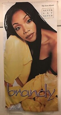 "RARE 1998 Brandy ""Never Say Never"" 24"" x 48"" cloth PROMO banner EXC COND"