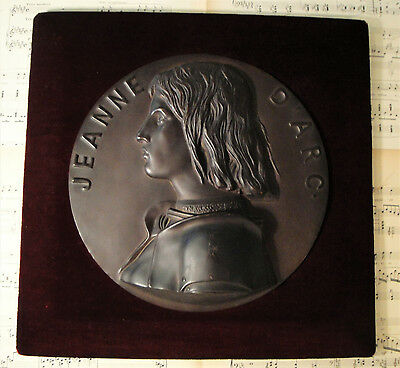 Rare Large Antique French BARBEDIENNE Joan of Arc Bronze Wall Piece c1860-1880