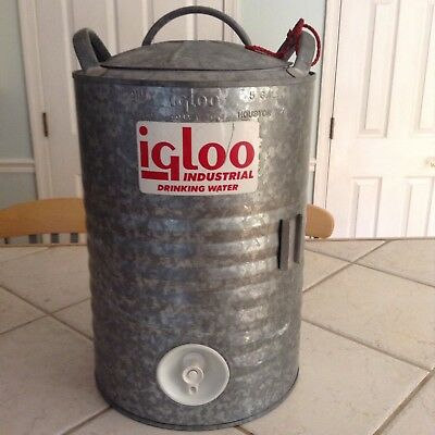 Vintage 5-Gallon Igloo Galvanized Water Cooler - PRISTINE CONDITION
