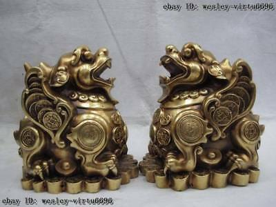 China brass copper lucky wealth foo dog lion Kylin Brave troops fengshui Statue