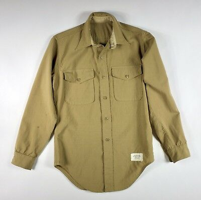 Vintage Wool Worsted Tropical Khaki Military Officers Shirt WWII
