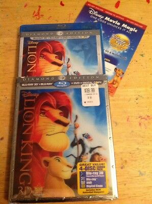 The Lion King 3D(Blu-ray/DVD,2011,4-Disc,Diamond Edition)Authentic Disney RARE