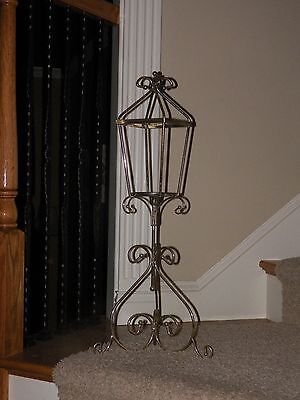 "Large Vintage Gold Plated Indoor Outdoor Candle or Plant Stand 29"" UNUSUAL ITEM"