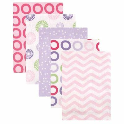 Luvable Friends Flannel Receiving Blankets, Pink Pinwheel, 5 Count