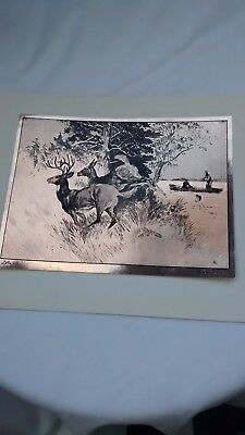 Art R.h Reinhold Palenske Hunting Lithograph-engraving Deer Buck Guarding His Family