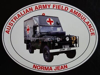 AUSTRALIAN ARMY FIELD AMBULANCE NORMA JEAN STICKER DECAL 115x87mm