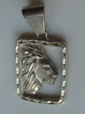 Vtg 925 Sterling Silver Diamond Cut Pendant Lion Big Cat Head Face Profile