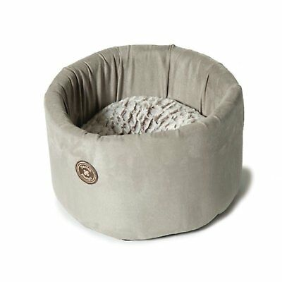 Small Luxury Cat Bed Cosy Warm Soft Cushion Washable Bolster Donut Round Grey