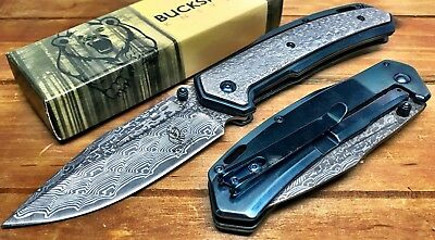 "8"" ASSISTED-OPENING-DAMASCUS-ETCHED-KNIFE-Tactical-Folding-Pocket-Blade-BUCKSHOT"