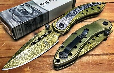"""8"""" ASSISTED-OPENING-DAMASCUS-ETCHED-KNIFE-Tactical-Folding-Pocket-Blade-BUCK GD"""