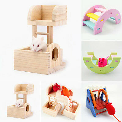 Wooden Climbing Ladder Lookout Tower Play Pet Toys For Hamster Rat Mouse Mice