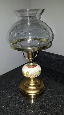 Vintage brass and Porcelain candle holder with glass shade